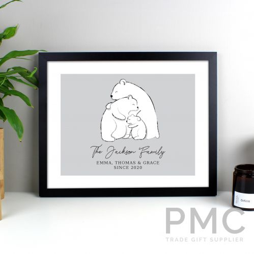Personalised Polar Bear Family Black Framed Print