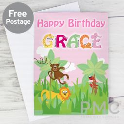 Personalised Pink Animal Alphabet Card