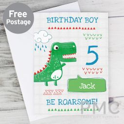 Personalised 'Be Roarsome' Dinosaur Card