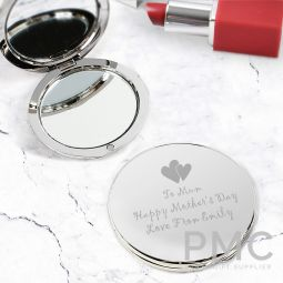 Personalised Hearts Round Compact Mirror