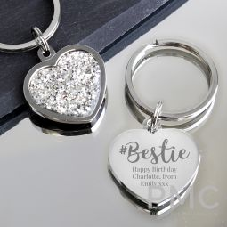 Personalised #Bestie Diamante Heart Keyring