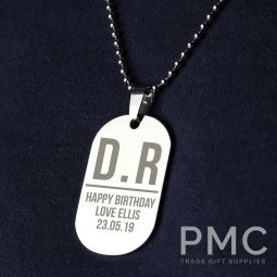 Personalised Initials Stainless Steel Dog Tag Necklace