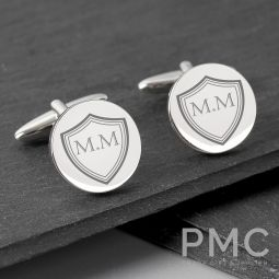 Personalised Shield Round Cufflinks