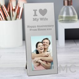 Personalised I Heart Small 3x2 Silver Photo Frame