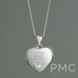 Personalised Children's Sterling Silver and Cubic Zirconia Heart Locket Necklace