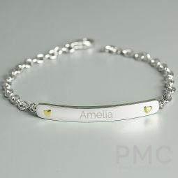 Personalised Sterling Silver and 9ct Gold Bar Bracelet