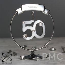 Personalised Name Only Crystocraft 50th Celebration Ornament