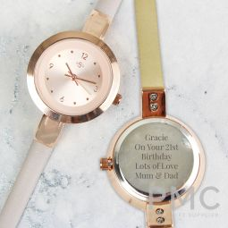 Personalised Rose Gold with Faux Leather Strap Ladies Watch
