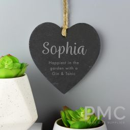 Personalised Free Text Slate Heart Decoration