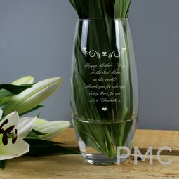 Personalised Hearts & Swirls Bullet Vase