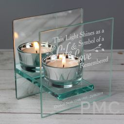 Personalised Life & Love Mirrored Glass Tea Light Candle Holder