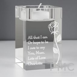 Personalised Rose Glass Tea Light Holder