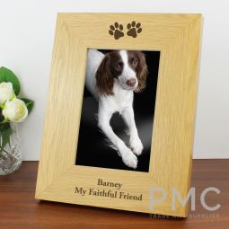 Personalised Oak Finish 6x4 Paw Prints Photo Frame