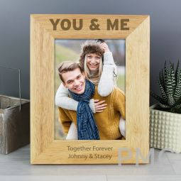 Personalised You & Me 7x5 Wooden Photo Frame