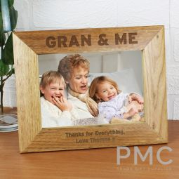 Personalised Gran & Me 7x5 Landscape Wooden Photo Frame