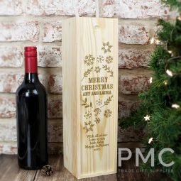 Personalised Christmas Frost Wooden Wine Bottle Box
