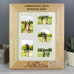 Personalised Our Adventures 10 x8 Wooden Photo Frame