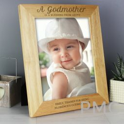 Personalised Godmother 10x8 Wooden Photo Frame