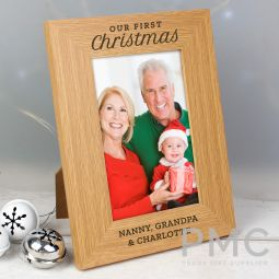 Personalised 'Our First Christmas' 4x6 Oak Finish Photo Frame
