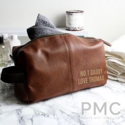 Personalised Luxury Brown leatherette Wash Bag