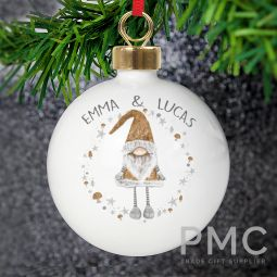 Personalised Scandinavian Christmas Gnome Bauble