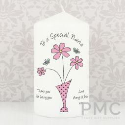 Personalised Flower in Vase Message Candle