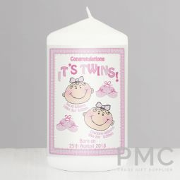Personalised Its Twins Candle Pink