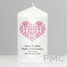Personalised Ruby Damask Heart Candle