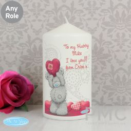 Personalised Me To You Heart Pillar Candle