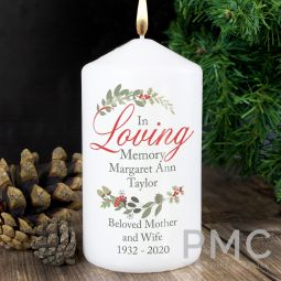 Personalised In Loving Memory Wreath Pillar Candle