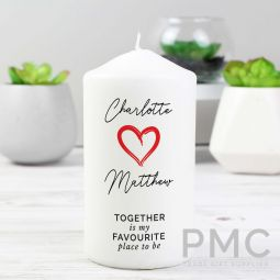 Personalised Together Is My Favorite Place Pillar Candle