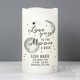 Personalised Baby To The Moon and Back LED Candle