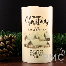 Personalised Christmas Town LED Candle