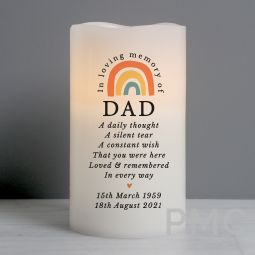 Personalised In Loving Memory Rainbow LED candle