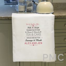 Personalised We Go Together Like.... White Tea Towel