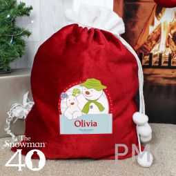 Personalised The Snowman and the Snowdog Luxury Pom Pom Sack