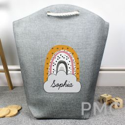 Personalised Mustard & Pink Rainbow Storage Bag