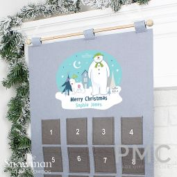 Personalised The Snowman and the Snowdog Advent Calendar In Silver Grey