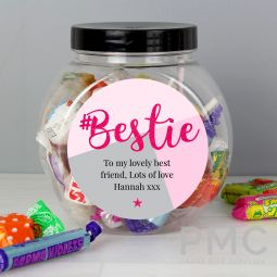 Personalised #Bestie Sweet Jar