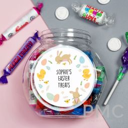 Personalised Easter Bunny & Chick Sweets Jar
