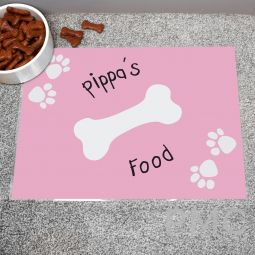 Personalised Pink Paw Print Dog Placemat