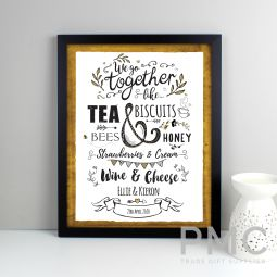 Personalised We Go Together Like... Black Framed Print