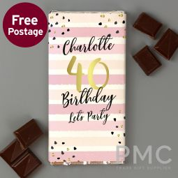 Personalised Birthday Gold and Pink Stripe Milk Chocolate Bar