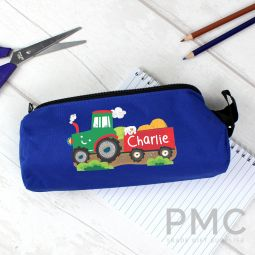 Personalised Tractor Blue Pencil Case