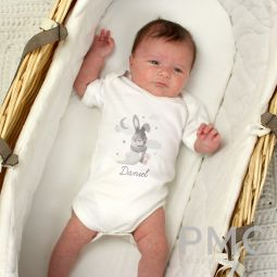 Personalised Baby Bunny 0-3 Months Baby Vest