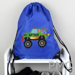 Personalised Monster Truck Blue Kit Bag