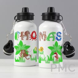 Personalised Blue Animal Alphabet Drinks Bottle
