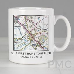 Personalised Present Day Map Compass Mug