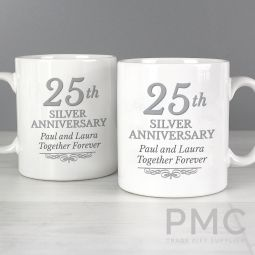 Personalised 25th Silver Anniversary Mug Set