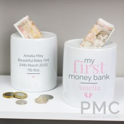 Personalised Pink My First Ceramic Money Box